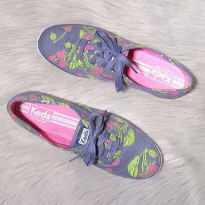 Keds Blue Floral Tennis Shoes